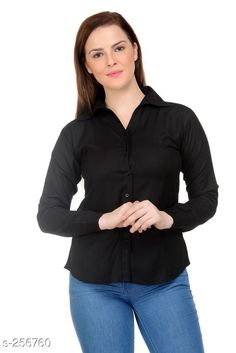 Shirts Trendy Rayon Women's Shirt Fabric: Rayon Sleeves: Sleeves Are Included  Size: L - 40 in XXL - 44 in Length: Up To 26 in Type: Stitched Description: It Has 1 Piece Of Women's Shirt Pattern: Solid Country of Origin: India Sizes Available: M, L, XL, XXL   Catalog Rating: ★3.8 (145)  Catalog Name: Ladies Shiny Solid Rayon Shirts CatalogID_26631 C79-SC1022 Code: 433-256760-108