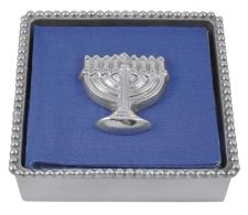 """Beaded Napkin Box with Menorah Weight  Item 2796-C    Price:$44.00 (Suggested Retail)  Materials:Recycled Sandcast Aluminum  Dimensions:5.75""""L x 5.75""""W x 2""""H"""