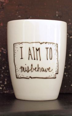 "Firefly ""I Aim to Misbehave"" Handpainted Porcelain Mug"