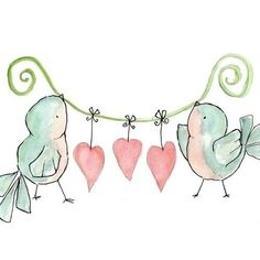 ❤=2 birds holding a green ribbon....3 pink dangling hearts