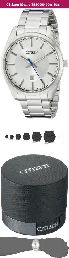 Citizen Men's BI1030-53A Stainless Steel Bracelet Watch. STAINLESS STEEL, MINERAL CRYSTAL, WATER RESISTANT, FOLD OVER CLASP.