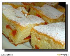 Vejce vyšleháme s cukrem do světlé pevné pěny, vmícháme olej a ostatní suroviny na těsto. Suroviny na náplň dobře vymícháme. Meruňkový kompot... Bread Dough Recipe, French Toast, Cheesecake, Breakfast, Ds, Cakes, Morning Coffee, Cake Makers, Cheesecakes