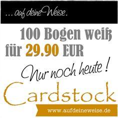 aufdeineweise.de – Shop: 100 Bogen 12x12 Cardstock Weiß für 29.90 € _Jetzt zugreifen! Das Angebot gilt nur noch bis heute.