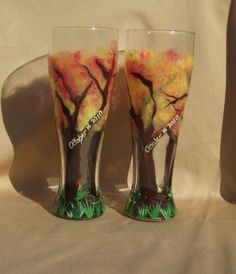Fall wedding ideas - Bride & Groom fall themed glasses, also available in wine glass.