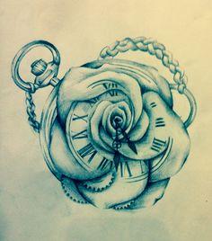Clock rose merge drawing sketch