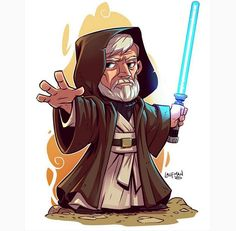 "(Chibi Obi Wan) By: Derek Laufman.™ ÅÅÅ+ (OBI WAN= There can be ""only one! Star Wars Drawings, Cartoon Drawings, Cartoon Art, Star Wars Fan Art, Obi Wan, Star Wars Karikatur, Star Wars Zeichnungen, Star Wars Cartoon, Chibi Marvel"