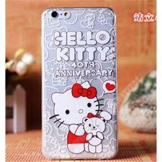 Divertida Carcasa TPU trasparente diseño kitty y oso para iPhone 6 Plus