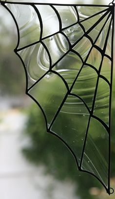 Large Spider Web Stained Glass Window Panel by Lindaleeglass, $50.00
