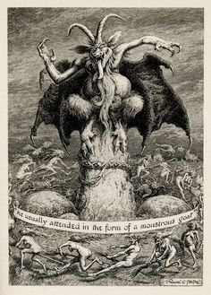 "Vintage art - Illustration of the Dark One by Frank C. Pape ""He usually attended in the form of a Monstrous Goat. Demon Art, Arte Horror, Horror Art, Satanic Art, Arte Obscura, Occult Art, Baphomet, Angels And Demons, Art Graphique"