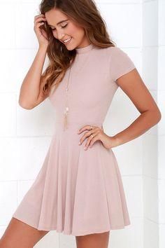 Blush Dress - Skater Dress - Fit-and-Flare Dress - Short Sleeve Dress - $46.00