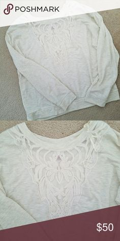 Cozy Sweater NWT XXL cozy sweater. Has cute lace detail down the neck. Off white/soft wheat color Sweaters Crew & Scoop Necks