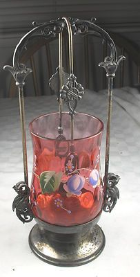 Antique Enameled Cranberry Pickle Castor with Tongs Barbour Quadruple Plate Victorian Bride, Brides Basket, Condiment Sets, Pickle Jars, Cranberry Glass, Decorated Jars, Old Art, Old Antiques, Kitchen Items