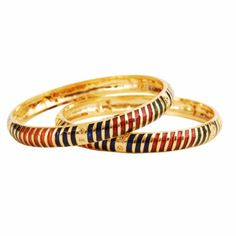Bollywood Designer Indian Jewelry - Set of Two Gold Striped Crystal Kada Bangle Bracelet