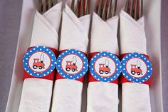 Train Napkin Rings Baby Shower- Red & Blue