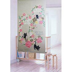 のれん 暖簾 ローズキャッツ 幅85cm×丈150cm