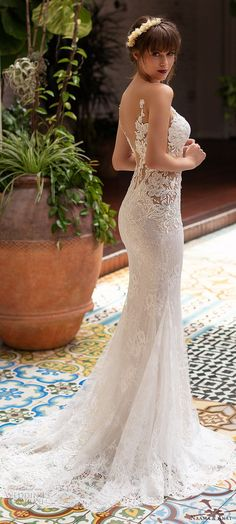 naama anat 2019 bridal sleeveless deep plunging sweetheart neckline sheath fit f. Couture Wedding Gowns, Bridal Wedding Dresses, Wedding Dress Styles, Bridesmaid Dresses, Lace Wedding, Vintage Weddingdress, Event Dresses, Bridal Beauty, Marie