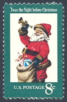 1972_11_09 $.08 This mint contemporary Christmas stamp was designed by Stevan Dohanos and features Santa Claus with gifts and the text, 'Twas the Night before Christmas.