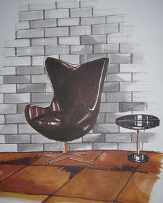marker rendering- leather swan chair by tohsookyan, via Flickr