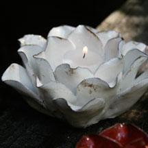 White Lotus Candle Holder
