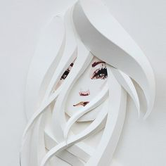 Illustrated Paper Sculpture - Split Personality Front (detail) by Belinda Rodriguez