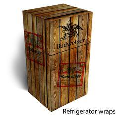 Budweiser wooden refrigerator wrap