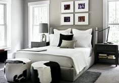 #interior #decor #styling #bedroom #linen #grey #black #cowhide #frames #pictures #cushions