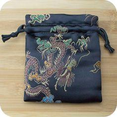 Premium Mala Bag - Black Dragons & Peacocks Brocade