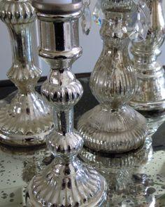 Mercury glass The Shining, Christmas Love, Mercury Glass, Christmas Inspiration, Barware, Candle Holders, Candles, Diamond, Diy