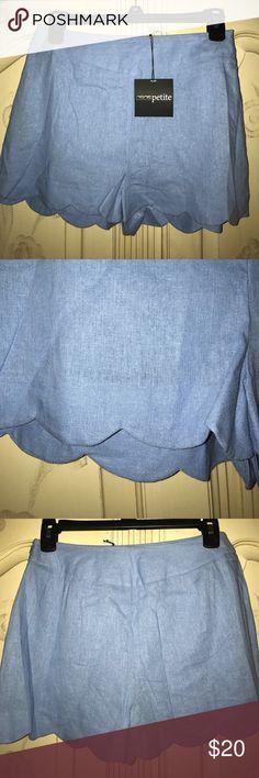 asos petite blue linen shorts NWT pretty sky blue asos petite linen shorts. Has higher waist and scalloped hem. So cute!! ASOS Petite Shorts