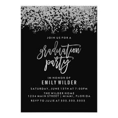 Silver Glitter Confetti Graduation Party Card