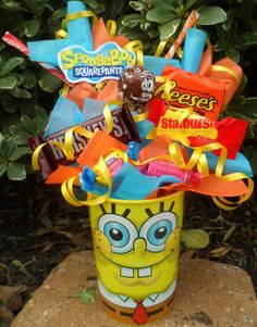 Bob Kids Candy Party Favors on Etsy, $4.75 Don't like the sponge bob cup but cute idea for party favors
