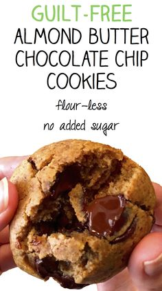 Guilt-Free Almond Butter Chocolate Chip Cookies - Flourless - No Added Sugar - Taste so good you won't believe they're healthy!