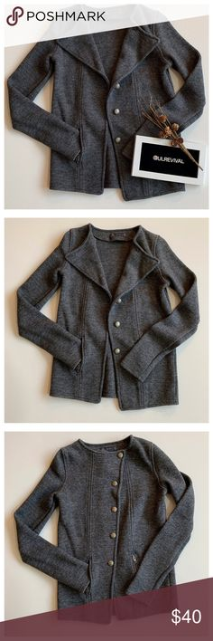 Shop Women s Zara Gray size L Sweaters at a discounted price at Poshmark.  Description  Dress up or down with this button-front moto sweater jacket. ef13a9704
