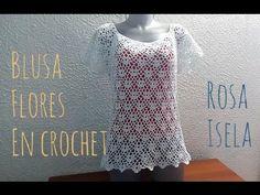 Blusa florecitas a crochet. - YouTube