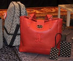 NEW fall/winter product from Initials inc! Twist lock tote in cranberry (seriously gorgeous in person), the Moxi in echo, and our new travel duo in pindot. www.myinitials-inc.com/wendymichelle