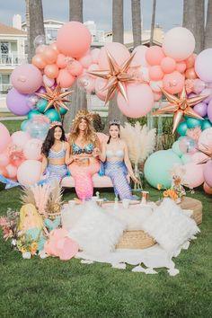 Boho Mermaid Party on Kara's Party Ideas   KarasPartyIdeas.com (15) Mermaid Pinata, Mermaid Cakes, Mermaid Party Decorations, Mermaid Parties, Balloon Arch, Balloons, Balloon Installation, Party Ideas, Mermaid Birthday
