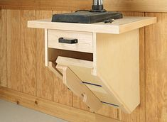This two-part upgrade adds accuracy and storage in a small footprint. Drill Press Stand, Drill Press Table, Tool Stand, Small Woodworking Projects, Diy Woodworking, Wooden File Cabinet, Wooden Work Bench, Woodsmith Plans, Tool Storage