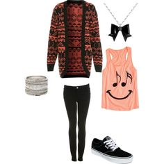 Casual. I want the cardigan and the top sooo bad! Too bad I can't wear these kind of bracelets though :c