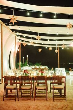 Totally stunning outdoor wedding reception with star lanterns. I love this!