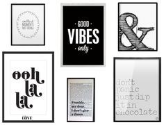 Des statement posters en noir et blanc Collect Moments - 9,14€ – Spell and Tell | Oh la la - 19,03€ – Letters on Love |  Good Vibes - 14,32 – The Motivated Type |  Frankly my dear - 31,66€ – Bookishly |  Esperluette - 11,30€ – Latte Design | Don't Panic - 19,59€ – MMhouse Designs