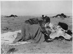 Sioux Indian woman skinning a buffalo