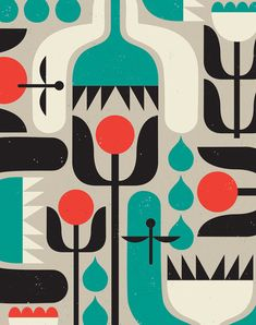 Spring Fling is a limited edition giclee print of an original illustration by Tracy Walker. This piece has a playful, graphic Scandinavian feel, Mid Century Modern Art, Mid Century Art, Retro Pattern, Pattern Design, Illustration Art Nouveau, Retro Illustration, Illustrations, Seasonal Image, Modern Art Deco