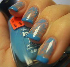 Chloe's Nails: Blue Konad Funky French....