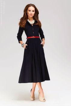 Платье темно-синее длины миди с пуговицами спереди и карманами , синий в интернет магазине Платья для самых красивых 1001dress.Ru