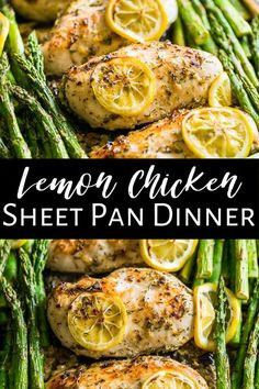 This super easy Lemon Chicken and Asparagus Sheet Pan Dinner is an all time favorite! It's a simple and healthy recipe that takes just minutes of prep time with next to no cleanup. It's naturally gluten free and paleo as well as clean eating and dairy free too.  #sheetpandinner #chicken #healthy #paleo #glutenfree #dairyfree Clean Eating Recipes, Healthy Dinner Recipes, Paleo Recipes, Real Food Recipes, Chicken Recipes, Cooking Recipes, Healthy Dinners, Healthy Foods, Lemon Chicken