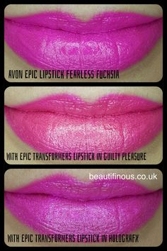 Avon mark. Epic Lipstick in the shade Fearless Fuchsia with two of the new Avon mark. Epic Transforming Lipstick shades worn over the top.