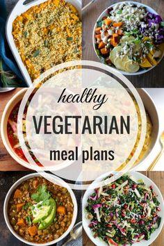 健康的素食餐計劃 - 每週食譜準備提前提示,素食主義者/ GF替代和彩色編碼的購物清單!