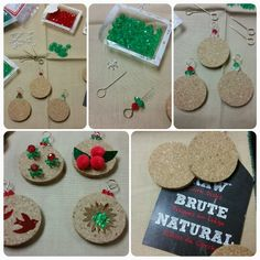 Simple DIY Christmas Ornaments made from cork disks, hooks, and beads. Get creative! Add paint and glitter! Even add pictures! Kid's will enjoy this craft project! Great gift idea!