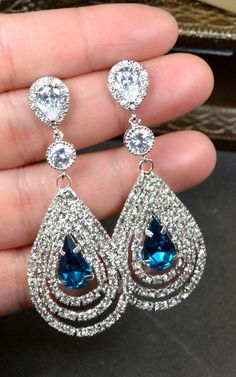 Navy blue,sapphire blue Wedding Jewelry Bridesmaid Gift Bridesmaid Jewelry Bridal Jewelry tear drop blue chandelier Earrings bridesmaid gift by thefabbridaljewelry on Etsy https://www.etsy.com/listing/188164598/navy-bluesapphire-blue-wedding-jewelry