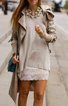 long sleeve white lace dress. light grey oversize sweater. beige trench coat. statement necklace.